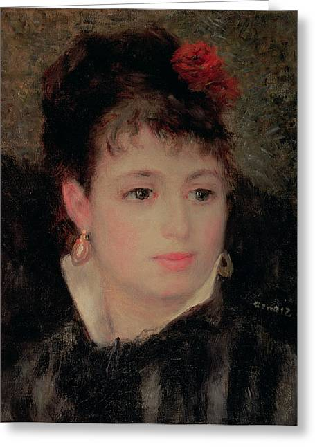 Woman With A Rose In Her Hair Greeting Card by Renoir