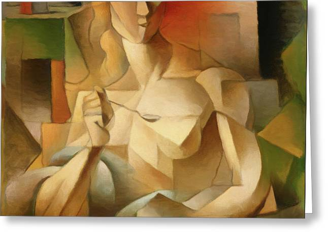 Woman With A Spoon After Metzinger Greeting Card by Georgiana Romanovna