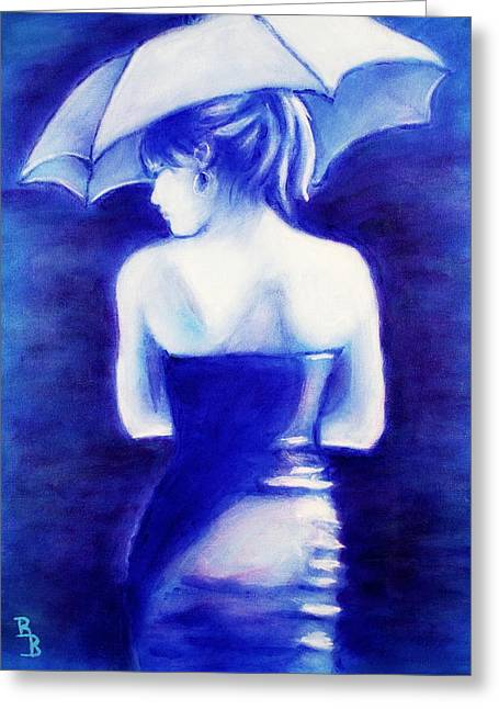Woman With An Umbrella Blue Greeting Card