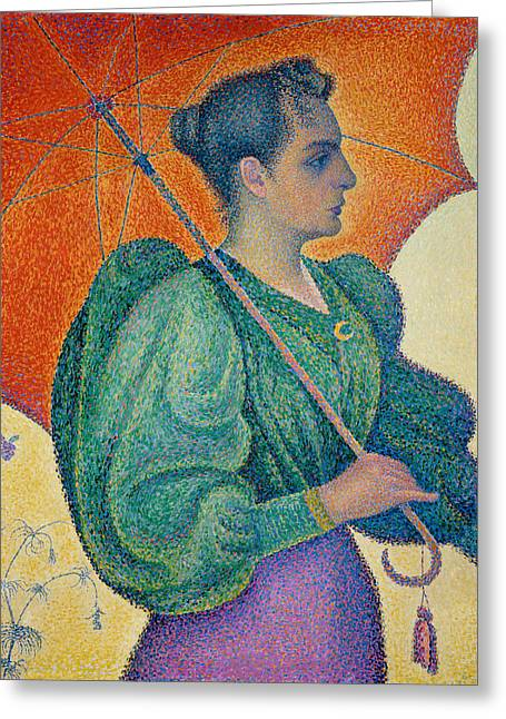 Woman With An Umbrella Greeting Card by Paul Signac