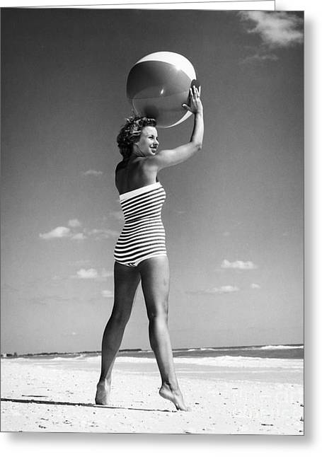 Woman With Beach Ball, C.1960s Greeting Card by H. Armstrong Roberts/ClassicStock