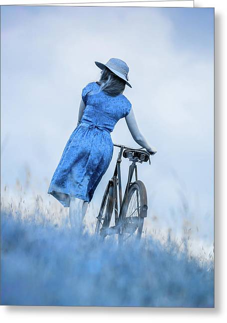 Woman With Bicycle In Field Greeting Card