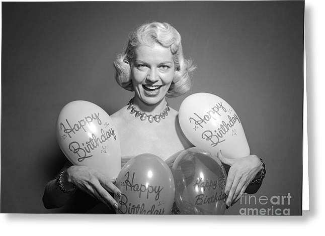 Woman With Birthday Balloons, C.1950s Greeting Card
