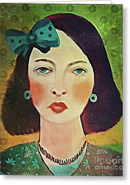Woman With Blue Hair Bow Greeting Card by Alexis Rotella