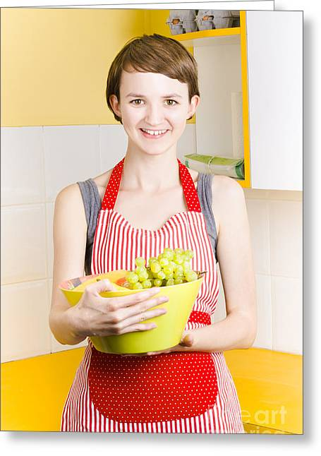 Woman With Bowl Of Fruit Greeting Card by Jorgo Photography - Wall Art Gallery