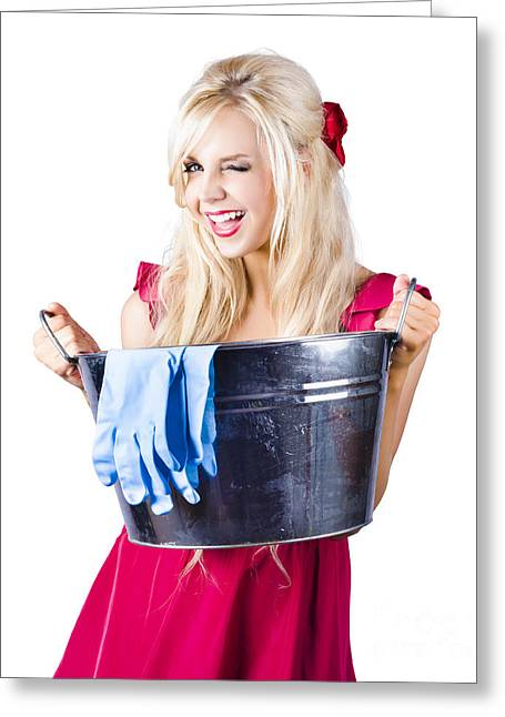 Woman With Bucket And Rubber Gloves Greeting Card by Jorgo Photography - Wall Art Gallery