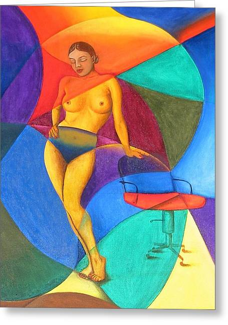 Woman With Chair Greeting Card by Mak Art