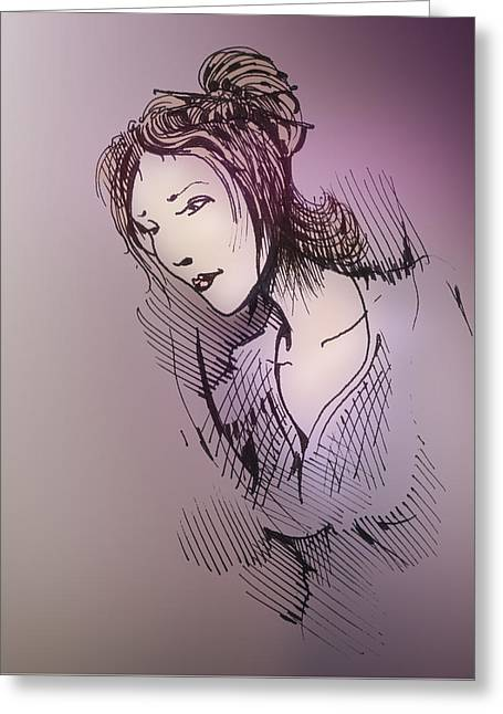 Greeting Card featuring the drawing Woman With Chopsticks In Her Hair by Keith A Link