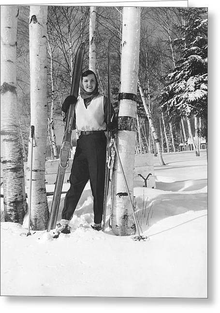 Woman With Cross Country Skis Greeting Card by Underwood Archives