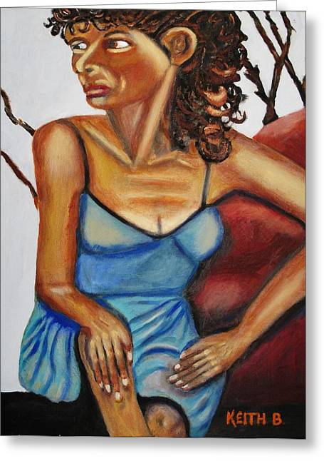 Woman With Curly Hair Greeting Card by Keith Bagg