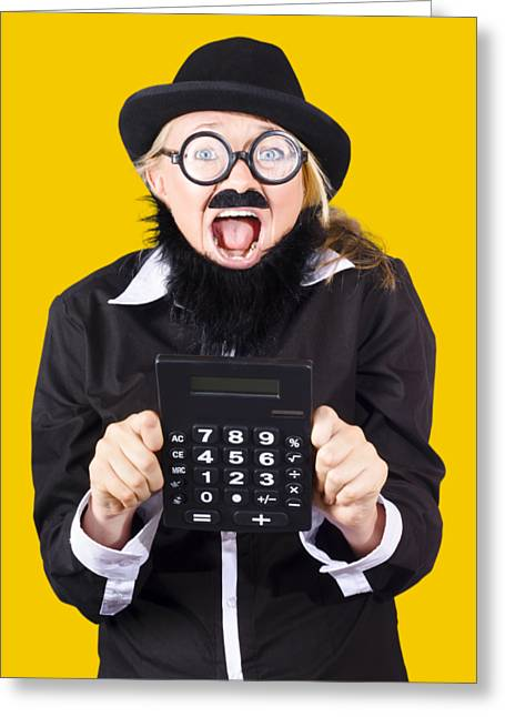 Woman With Electronic Calculator Greeting Card by Jorgo Photography - Wall Art Gallery
