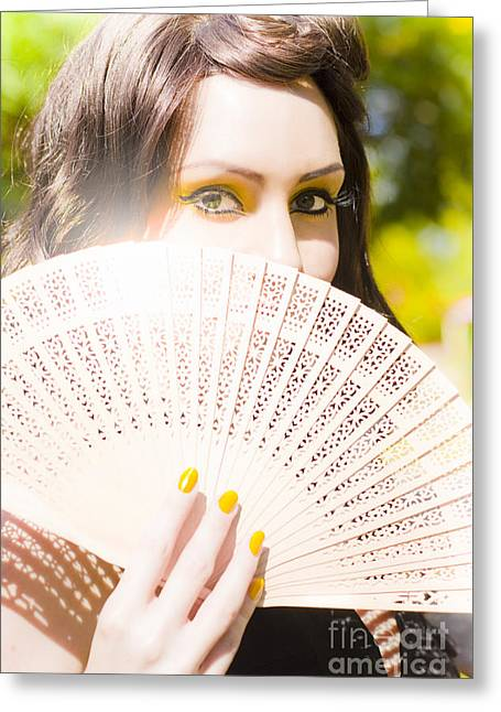 Woman With Fan Greeting Card