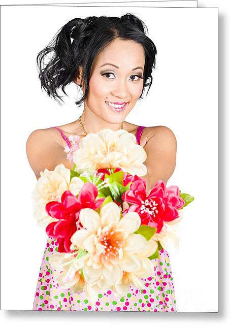 Woman With Flower Arrangement. Valentines Day Gift Greeting Card by Jorgo Photography - Wall Art Gallery