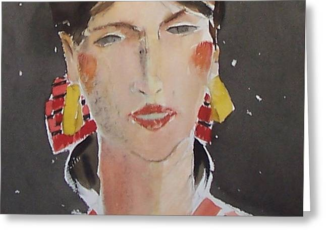 Woman With Gold Earrings Greeting Card by Thomas Tribby