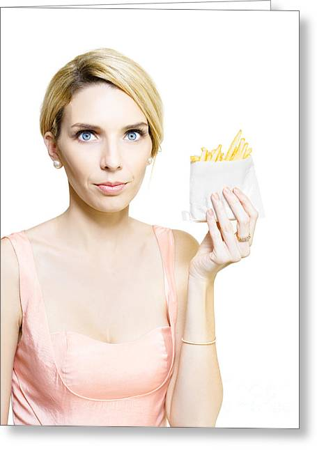 Woman With Greasy Packet Of French Fries Greeting Card by Jorgo Photography - Wall Art Gallery