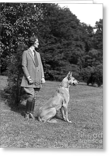 Woman With Great Dane, C.1920-30s Greeting Card by H. Armstrong Roberts/ClassicStock
