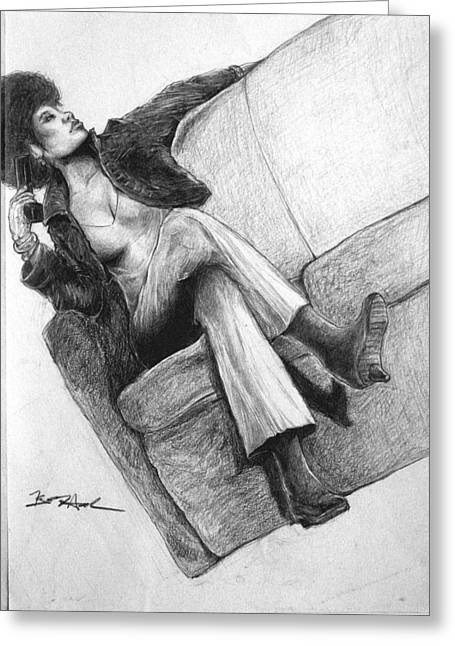 Woman With Gun By Kyle Anderson Greeting Card by Joyce Owens