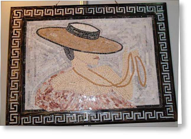 Mosaic Reliefs Greeting Cards - Woman With Hat Greeting Card by Petrit Metohu