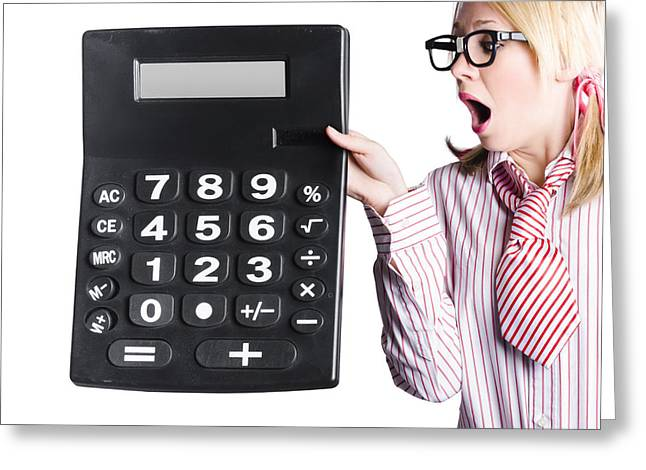 Woman With Large Calculator Greeting Card