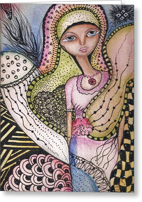 Greeting Card featuring the mixed media Woman With Large Eyes by Prerna Poojara