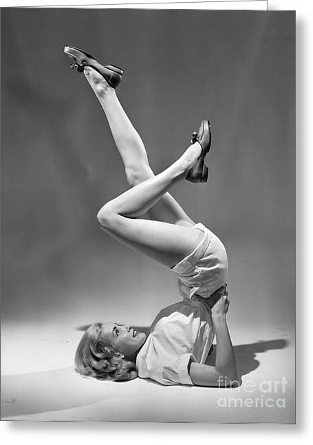 Woman With Legs In The Air, C.1950s Greeting Card