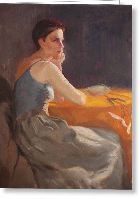 Sold Woman With Lily Greeting Card by Irena  Jablonski