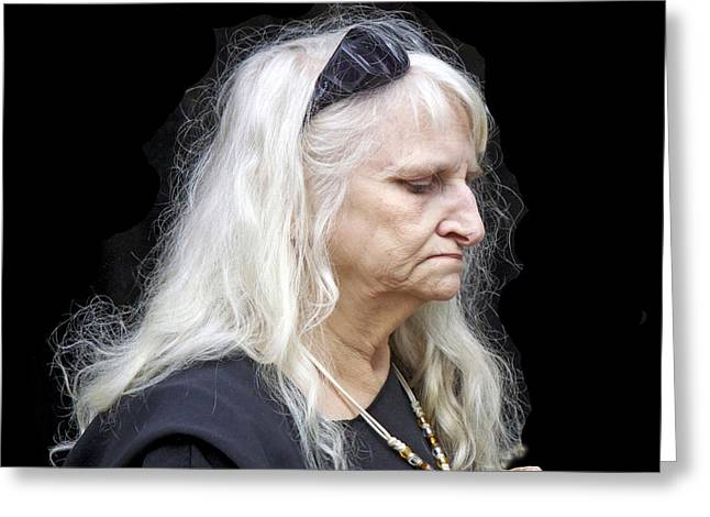 Woman With Long Silver Hair Greeting Card by Robert Frank Gabriel