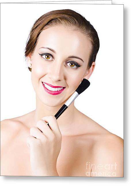 Woman With Makeup Brush Greeting Card by Jorgo Photography - Wall Art Gallery