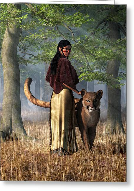 Greeting Card featuring the digital art Woman With Mountain Lion by Daniel Eskridge