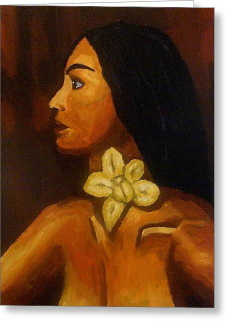 Woman With Orchid Greeting Card by Mats Eriksson