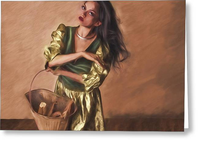 Woman With Pail  ... Greeting Card