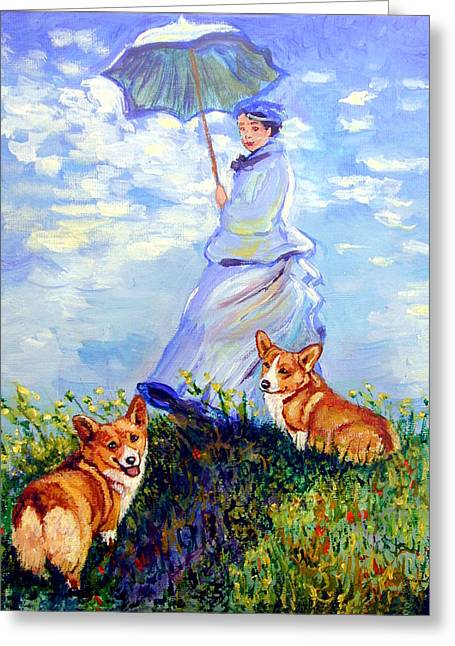 Puppies Greeting Cards - Woman with Parasol and Corgis after Monet Greeting Card by Lyn Cook