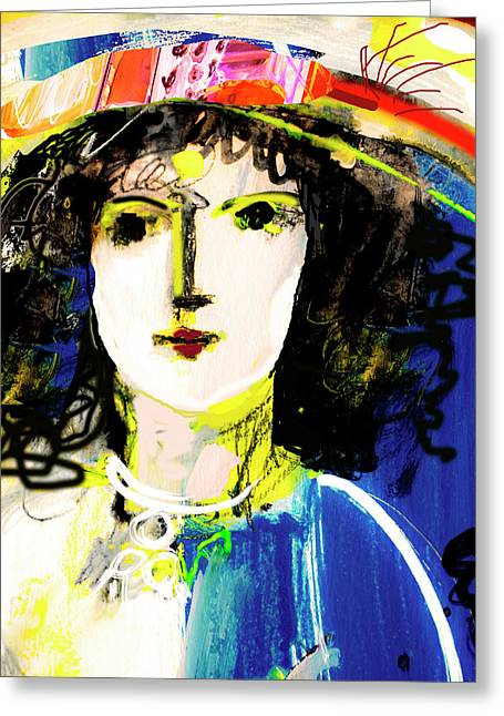 Woman With Party Hat Greeting Card
