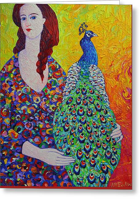 Woman With Peacock Contemporary Portrait Impressionist Palette Knife Oil Painting Ana Maria Edulescu Greeting Card