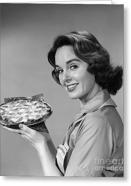 Woman With Pie, C.1950-60s Greeting Card by H. Armstrong Roberts/ClassicStock