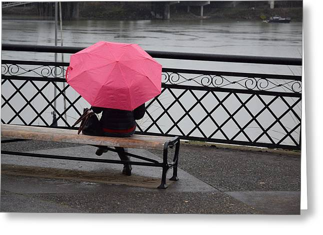Woman With Pink Umbrella. Greeting Card