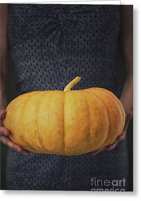 Woman With Pumpkin Greeting Card by Mythja Photography