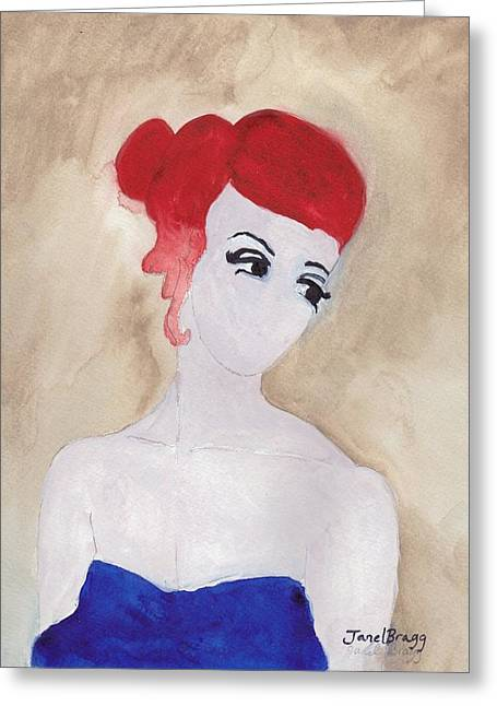 Woman With Red Hair And Blue Dress Greeting Card by Janel Bragg