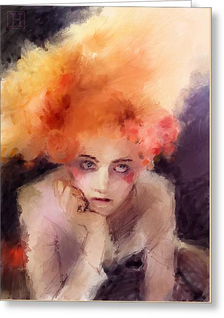 Woman With Red Hair Greeting Card by H James Hoff