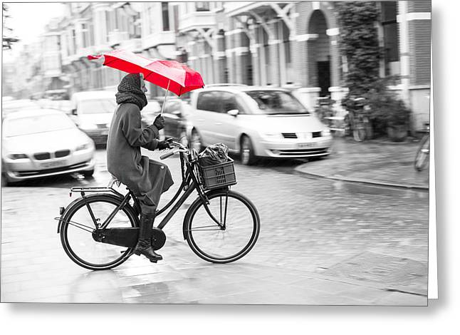 Woman With Red Umbrella, Holland Greeting Card