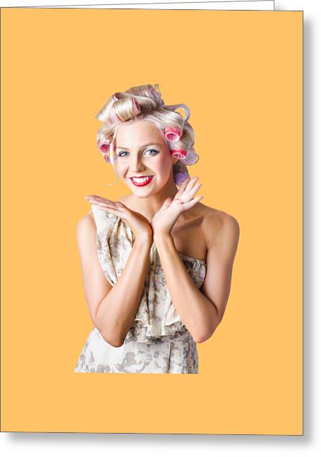 Woman With Rollers In Hair Greeting Card by Jorgo Photography - Wall Art Gallery