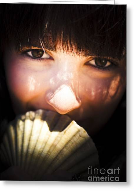 Woman With Seashell Greeting Card by Jorgo Photography - Wall Art Gallery