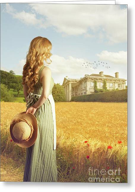 Woman With Straw Hat Greeting Card by Amanda Elwell
