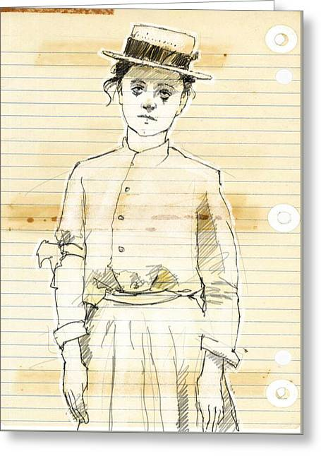 Woman With Straw Hat Greeting Card by H James Hoff