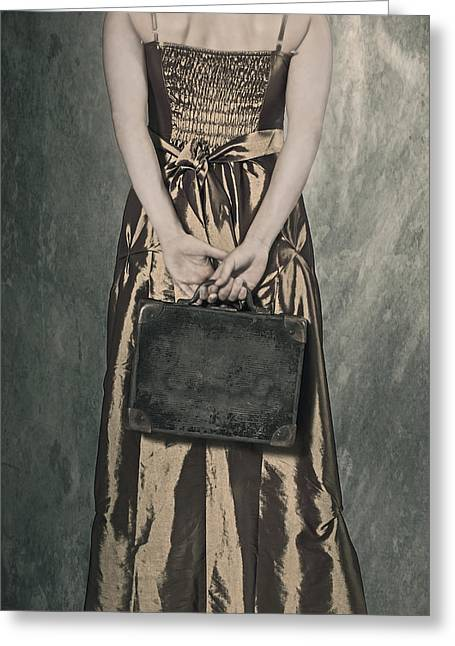 Woman With Suitcase Greeting Card