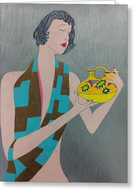 Woman With Vase Greeting Card