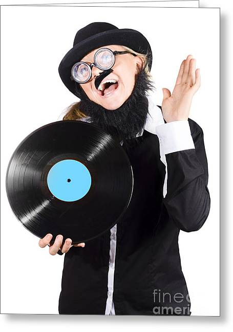 Woman With Vinyl Record Over White Background Greeting Card by Jorgo Photography - Wall Art Gallery