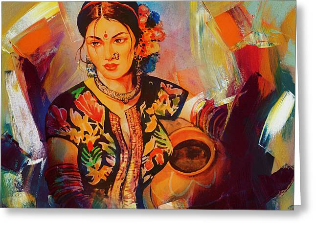 Woman With Water Pot Painting Greeting Card