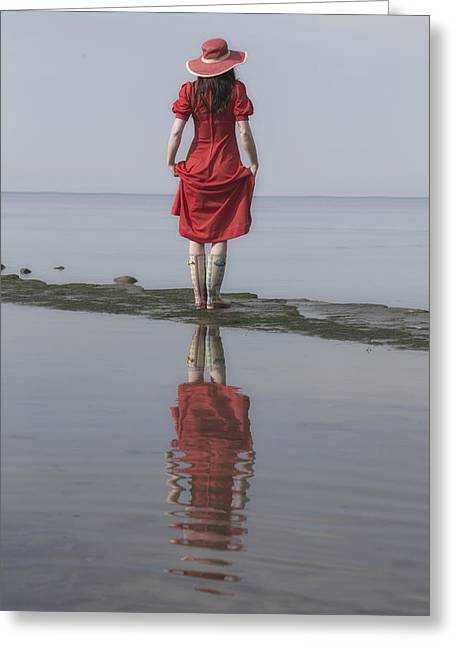 woman with Wellies Greeting Card by Joana Kruse