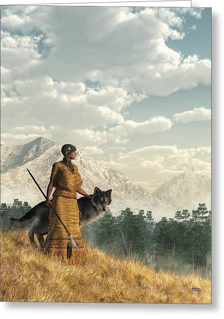Woman With Wolf Greeting Card